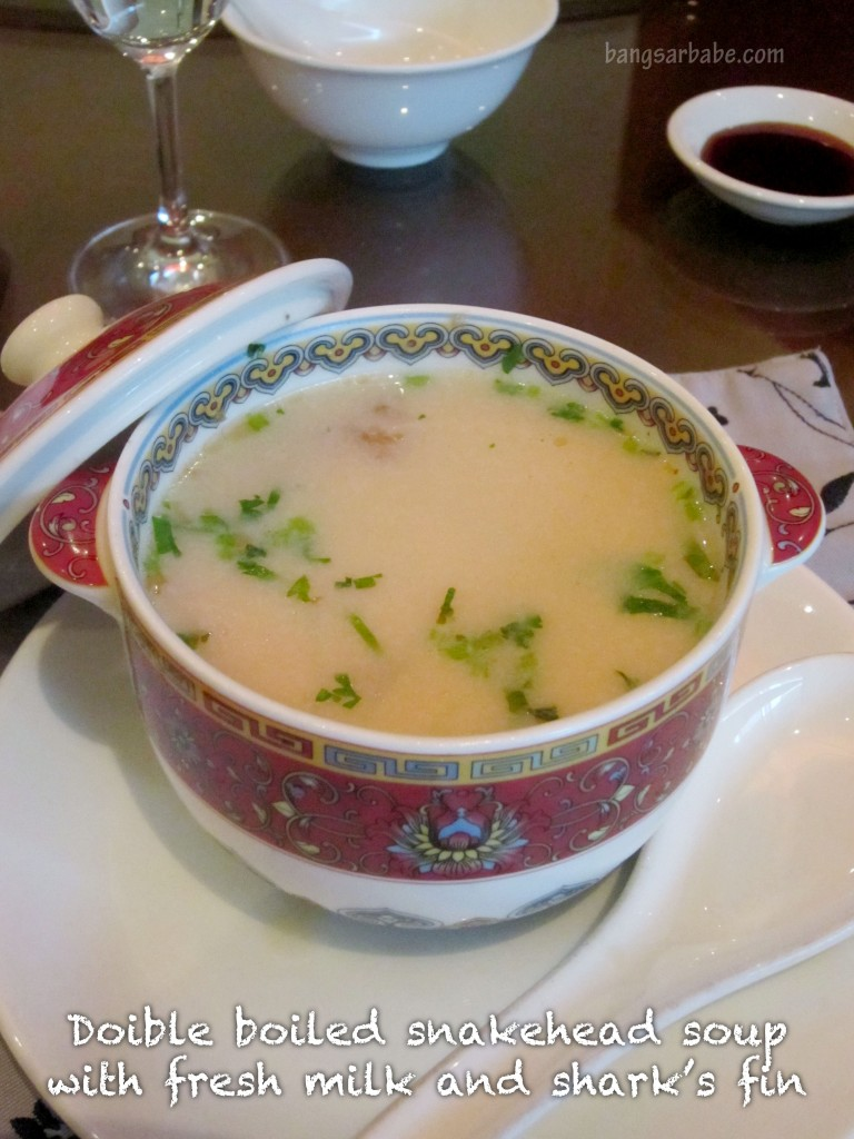 Double boiled snakehead nourishing tonic soup with fresh milk and shark's fin