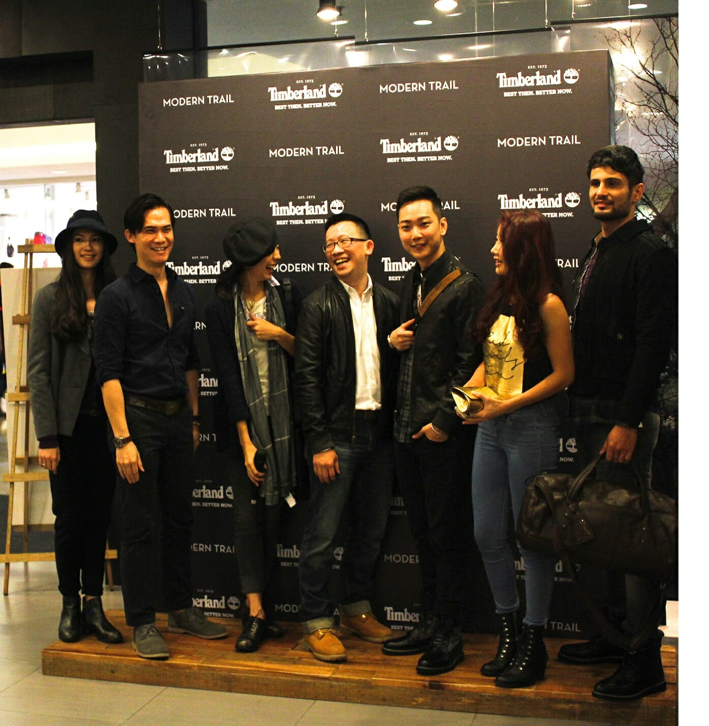 All the happy people in their brand new Timberland gear!